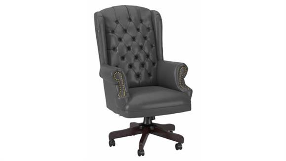 Office Chairs Bush Wingback Leather Executive Office Chair with Nailhead Trim