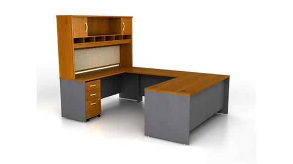 U Shaped Desks Bush U Shaped Desk with Hutch