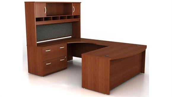 U Shaped Desks Bush Bow Front U Shaped Desk with Hutch