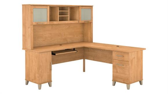 "L Shaped Desks Bush 72""W L Shaped Desk with Hutch"