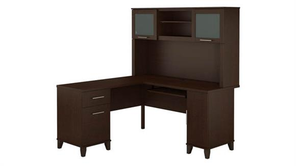 "L Shaped Desks Bush 60""W L Shaped Desk with Hutch"