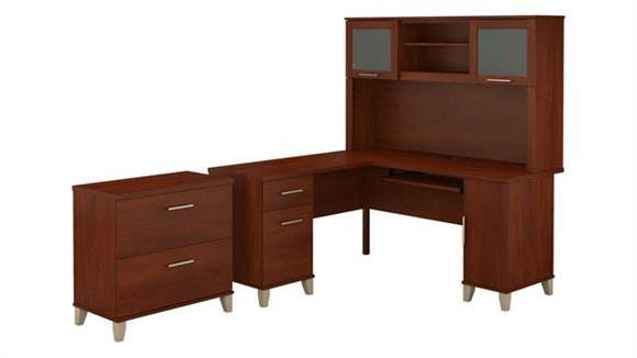 """L Shaped Desks Bush 60"""" W L-Shaped Desk with Hutch and Lateral File Cabinet"""