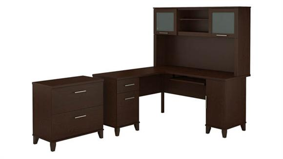 "L Shaped Desks Bush 60""W L Shaped Desk with Hutch and Lateral File Cabinet"
