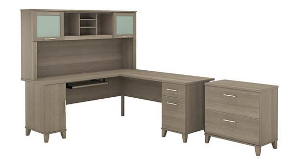 """L Shaped Desks Bush 72""""W L Shaped Desk with Hutch and Lateral File Cabinet"""