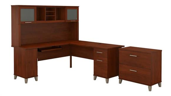 "L Shaped Desks Bush 72""W L Shaped Desk with Hutch and Lateral File Cabinet"