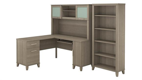 "L Shaped Desks Bush 60""W L Shaped Desk with Hutch and 5 Shelf Bookcase"