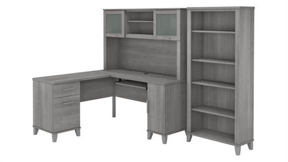 "L Shaped Desks Bush 60"" W L-Shaped Desk with Hutch and 5 Shelf Bookcase"