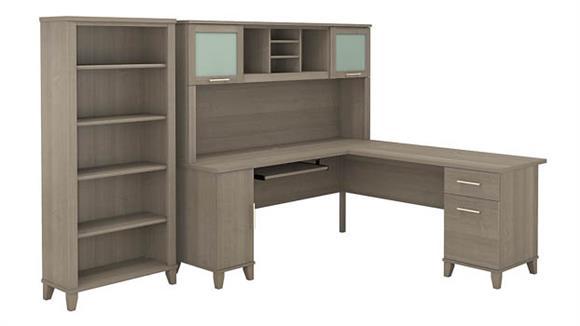 "L Shaped Desks Bush 72""W L Shaped Desk with Hutch and 5 Shelf Bookcase"