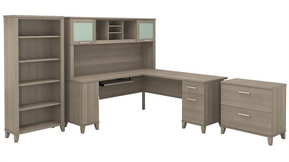 "L Shaped Desks Bush 72""W L Shaped Desk with Hutch, Lateral File Cabinet and Bookcase"