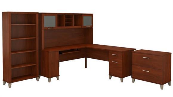 "L Shaped Desks Bush 72"" W L-Shaped Desk with Hutch, Lateral File Cabinet and Bookcase"
