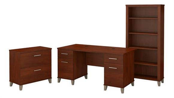 "L Shaped Desks Bush 60""W Office Desk with Lateral File Cabinet and 5 Shelf Bookcase"