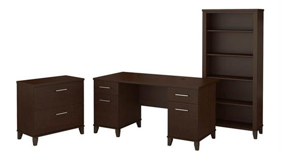 """Computer Desks Bush 60""""W Office Desk with Lateral File Cabinet and 5 Shelf Bookcase"""