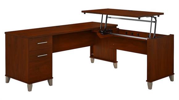 "Adjustable Height Desks & Tables Bush 72"" W 3 Position Sit to Stand L-Shaped Desk"
