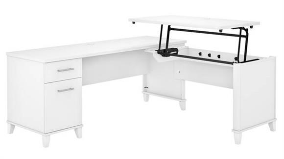 "Adjustable Height Desks & Tables Bush 72""W 3 Position Sit to Stand L-Shaped Desk"