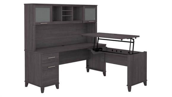 "Adjustable Height Desks & Tables Bush 72""W 3 Position Sit to Stand L-Shaped Desk with Hutch"