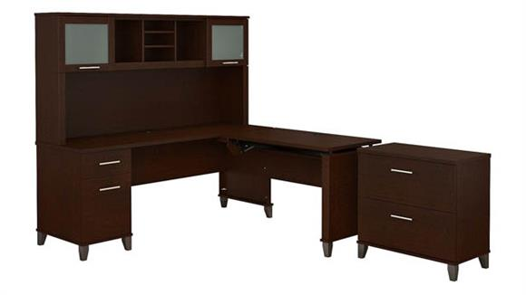 "Adjustable Height Desks & Tables Bush 72""W 3 Position Sit to Stand L Shaped Desk with Hutch and File Cabinet"