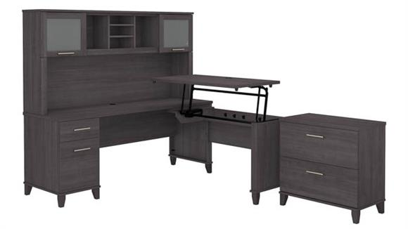 """Adjustable Height Desks & Tables Bush 72""""W 3 Position Sit to Stand L-Shaped Desk with Hutch and Lateral File Cabinet"""