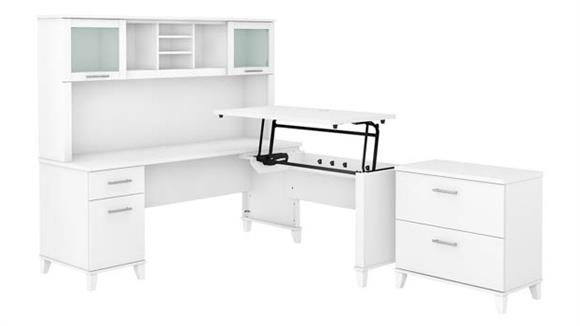 """Adjustable Height Desks & Tables Bush 72"""" W 3 Position Sit to Stand L-Shaped Desk with Hutch and Lateral File Cabinet"""