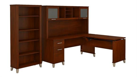 "Adjustable Height Desks & Tables Bush 72""W 3 Position Sit to Stand L Shaped Desk with Hutch and Bookcase"
