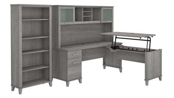 """Adjustable Height Desks & Tables Bush 72"""" W 3 Position Sit to Stand L-Shaped Desk with Hutch and Bookcase"""