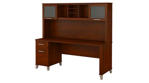 "Computer Desks Bush 72""W Office Desk with Hutch"