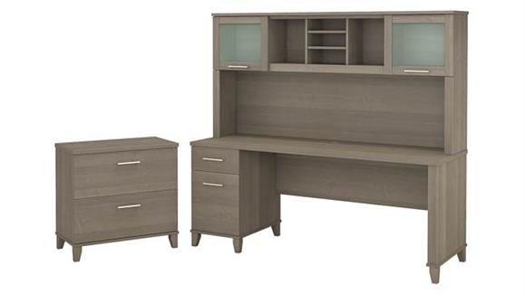 """Computer Desks Bush 72""""W Office Desk with Hutch and Lateral File Cabinet"""