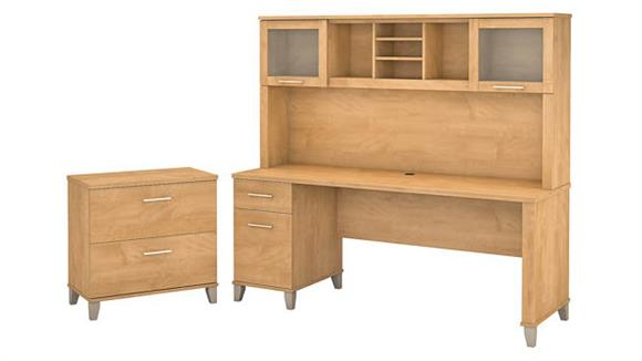 """Computer Desks Bush 72"""" W Office Desk with Hutch and Lateral File Cabinet"""