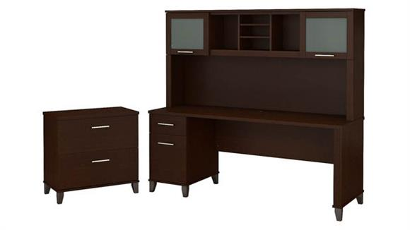 "Computer Desks Bush 72""W Office Desk with Hutch and Lateral File Cabinet"