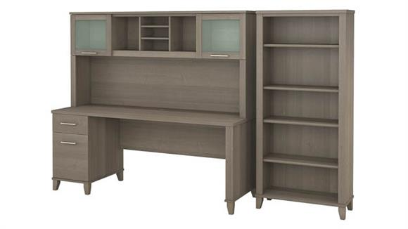 "Computer Desks Bush 72""W Office Desk with Hutch and 5 Shelf Bookcase"