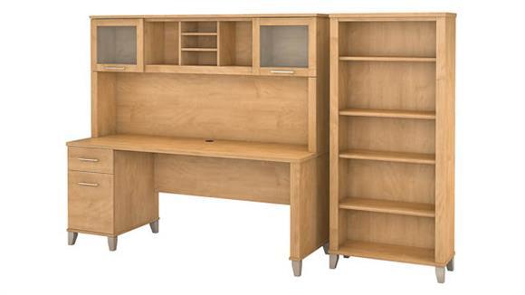 "Computer Desks Bush 72"" W Office Desk with Hutch and 5 Shelf Bookcase"