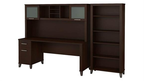 "Computer Desks Bush 72""W Office Desk with Hutch and 5 Shelf Bookcase"