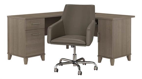 "L Shaped Desks Bush 60""W L Shaped Desk with Mid Back Leather Box Chair"