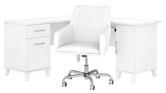 "L Shaped Desks Bush 60""W L-Shaped Desk with Mid Back Leather Box Chair"