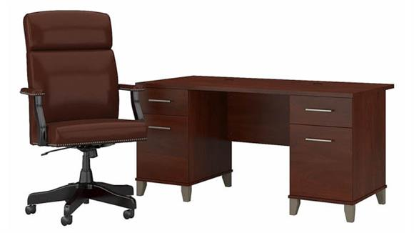 """Computer Desks Bush 60"""" W Office Desk with Drawers and High Back Executive Chair"""