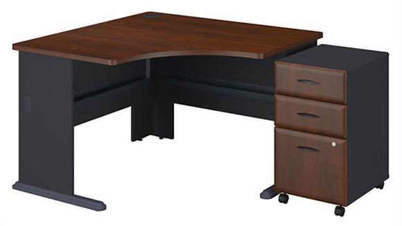 """Modular Desks Bush 48"""" Corner Desk with 3 Drawer File"""