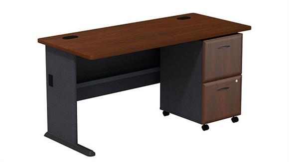 """Modular Desks Bush 60"""" Desk with 2 Drawer File"""