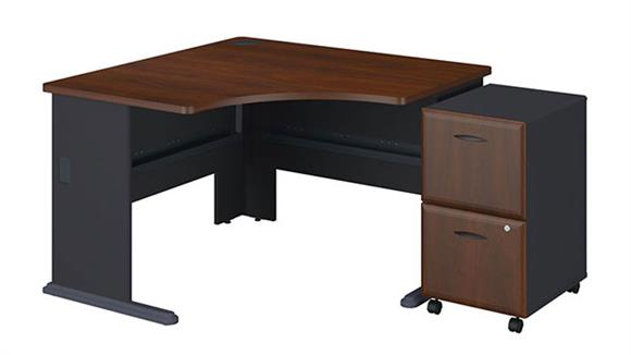 """Modular Desks Bush 48"""" Corner Desk with 2 Drawer File"""