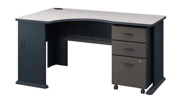 Corner Desks Bush Left Corner Desk with Mobile File Cabinet