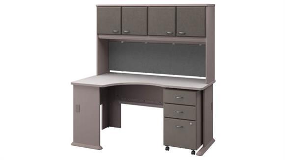 Corner Desks Bush Left Corner Desk with Hutch and Mobile File Cabinet