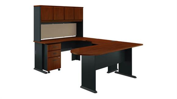 U Shaped Desks Bush U Shaped Corner Desk with Hutch and Mobile File Cabinet