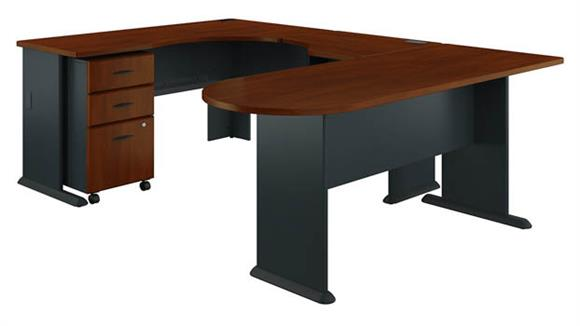 U Shaped Desks Bush U Shaped Corner Desk with Mobile File Cabinet