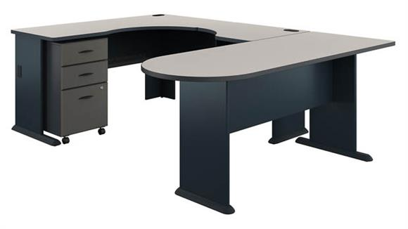 U Shaped Desks Bush U Shaped Corner Desk with Mobile File Cabinet