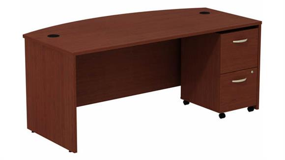 """Computer Desks Bush 72"""" W Bow Front Desk with Assembled 2 Drawer Mobile Pedestal"""