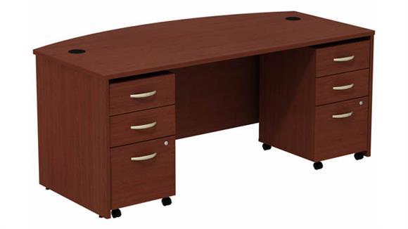 "Computer Desks Bush 72"" W Bow Front Desk with (2) Assembled 3 Drawer Mobile Pedestals"