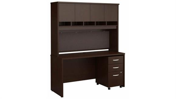 """Computer Desks Bush 60"""" W x 24"""" D Office Desk with Hutch and Assembled 3 Drawer Mobile File Cabinet"""