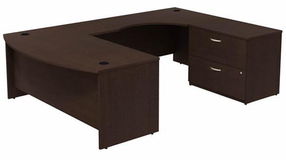 "U Shaped Desks Bush 72"" W Bow Front U-Shaped Desk with Assembled 2 Drawer Lateral File Cabinet"