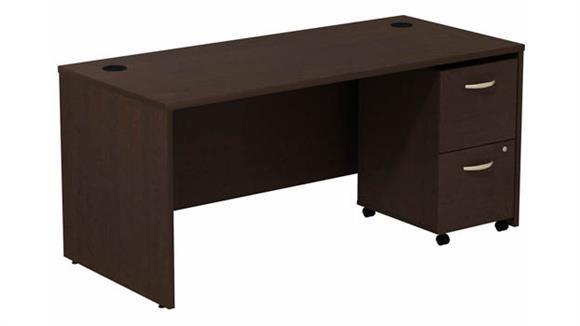 """Computer Desks Bush 66"""" W Desk with Assembled 2 Drawer Mobile Pedestal"""