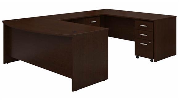 "U Shaped Desks Bush 72"" W x 36"" D Bow Front U-Shaped Desk with (2) Assembled Mobile File Cabinets"