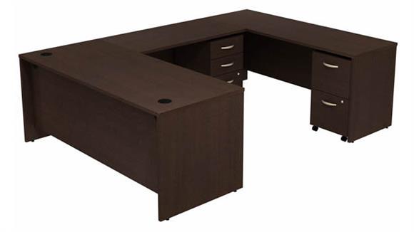 """U Shaped Desks Bush 72"""" W U-Shaped Desk with (2) Assembled Mobile File Cabinets"""