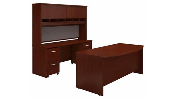 """Computer Desks Bush 72"""" W Bow Front Desk, 72"""" W Credenza with Hutch and (2) Assembled Mobile File Cabinets"""